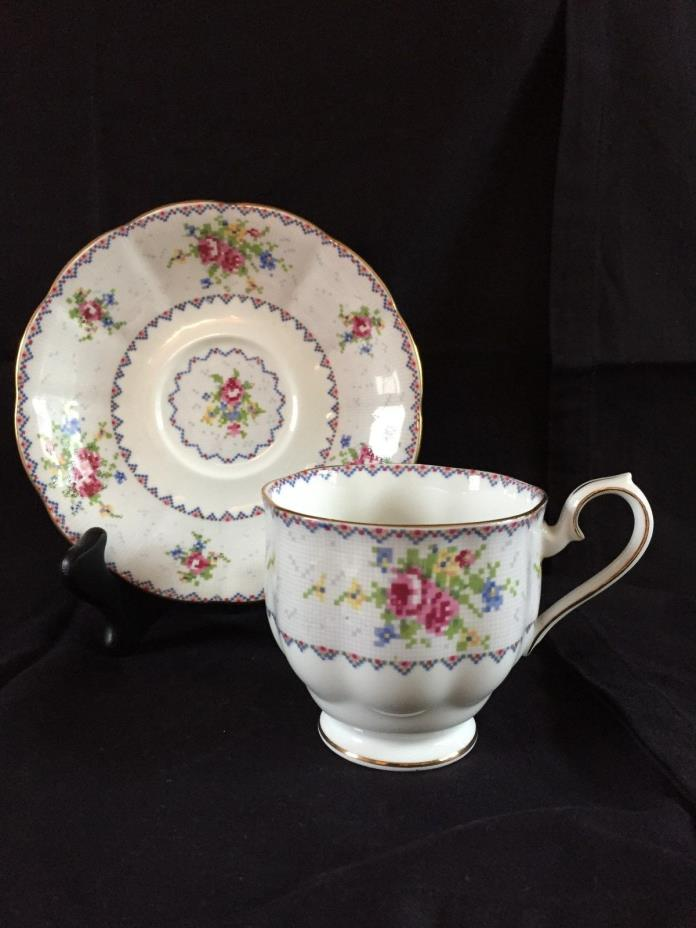 Royal Albert Petit Point LARGE Size Footed Coffee Cup & Saucer - RARE