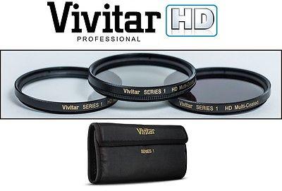 VIVITAR 3-PCS HI-DEF UV POLARIZER & ND8 FILTER KIT FOR SONY FDR-AX40 FDR-AX53