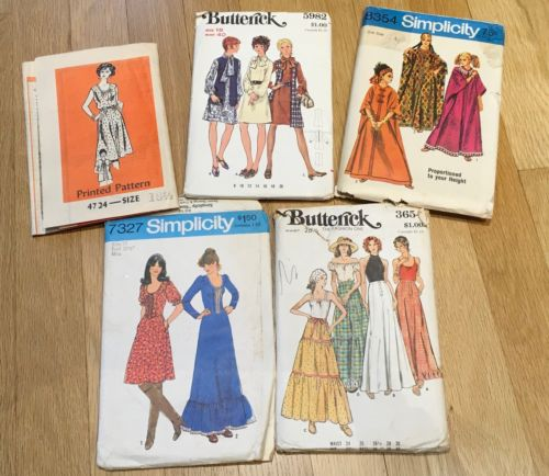 5 Vintage 70s Sewing Pattern Lot Hippie Mod Caftan Dress