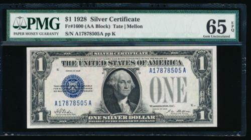 AC 1928 $1 Silver Certificate PMG 65 EPQ A-A block  Fr 1600
