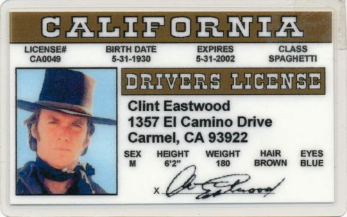 Clint Eastwood - California - Drivers License - Novelty