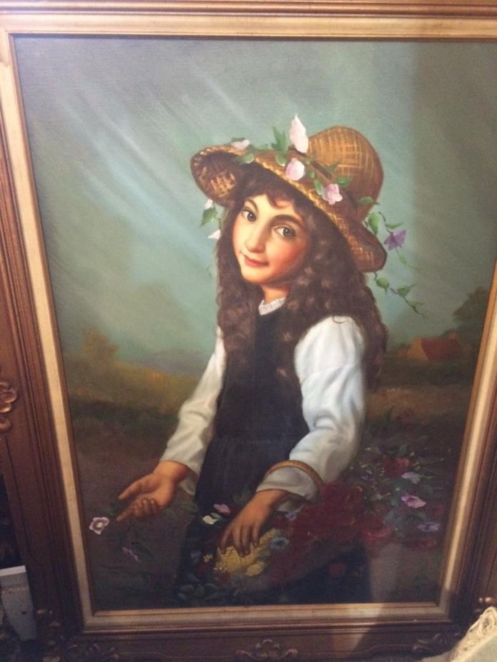 oil painting Berne Flower girl original oil