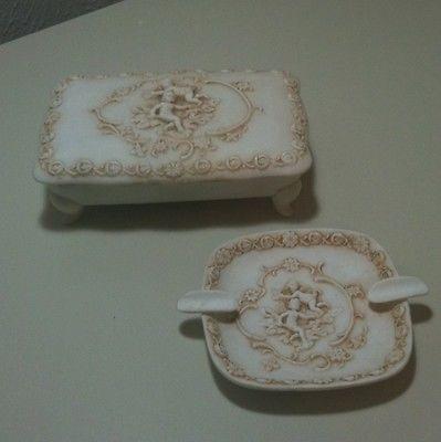 Vintage 1940s Lefton Porcelain Cherub Ashtray & Footed Trinket Box Vanity Set