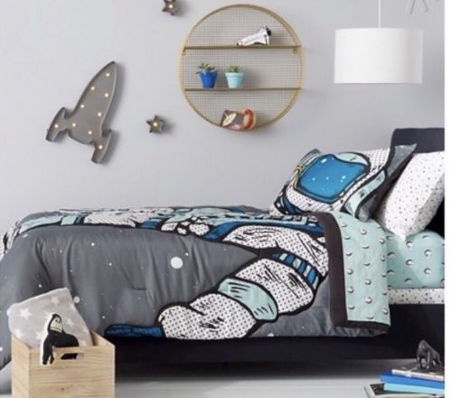 PILLOWFORT 3 Piece ASTRO ADVENTURE COMFORTER Set Full Space + Many Moons Sheets