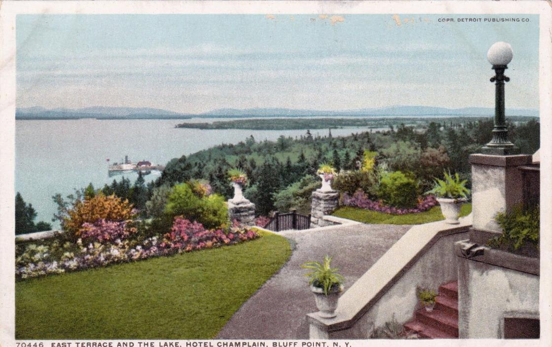 POSTCARD - East Terrace and the Lake, Hotel Champlain, Bluff Point, N.Y.