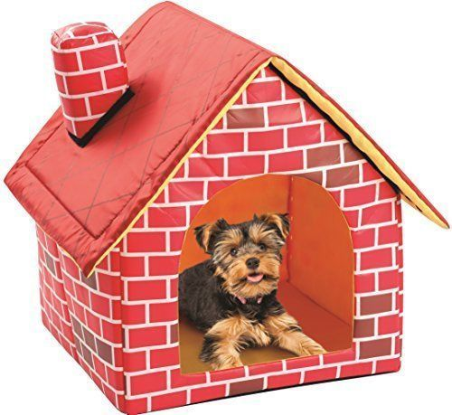 Portable Brick Dog House Warm Cozy Indoor Outdoor Great Cat Puppy Pet Bed Home