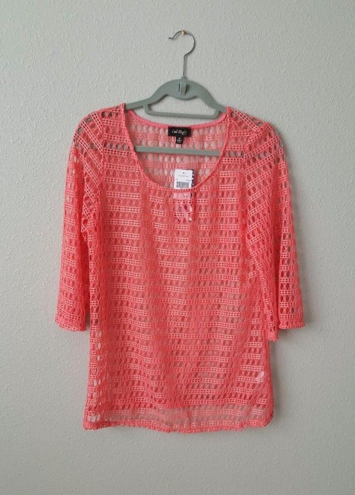 NWT Cal Style Crochet 3/4 Tunic Top/Cover Up Bright Coral Pink Size M