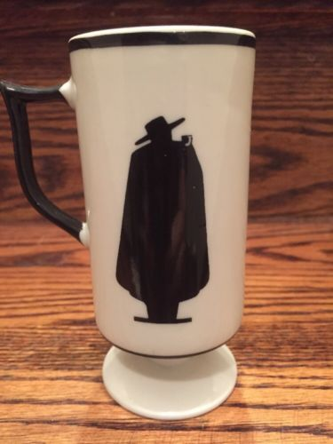 Vintage Set 8 Zorro Espresso Coffee Mugs Cup Papa Negra Tall White Black Japan