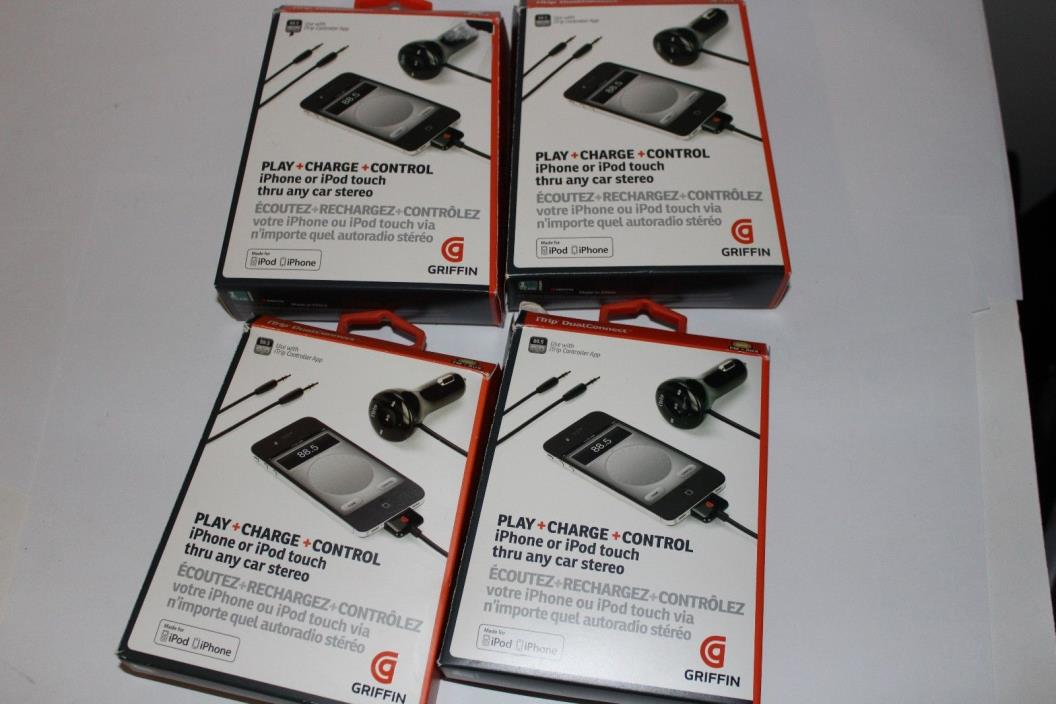 Lot of 4 x Griffin iTrip Dual Connect Play / Charge iPod /iPhone 30 pin NA22050