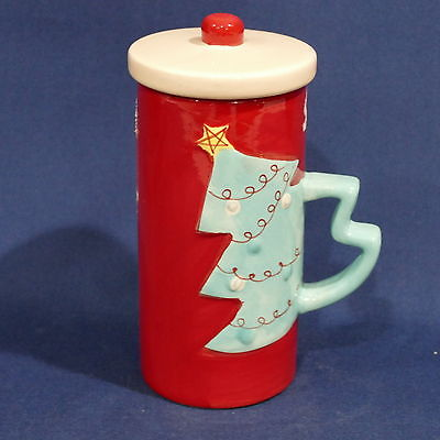 Ceramic Hot Cocoa Mug & Lid ~ Red with a Christmas Tree Handle