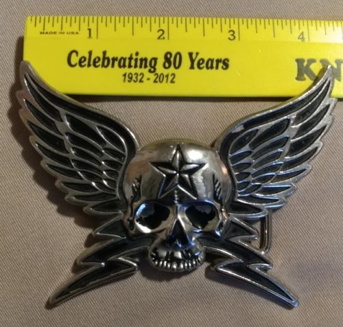 skull wings Rockn'Roll metal belt buckle