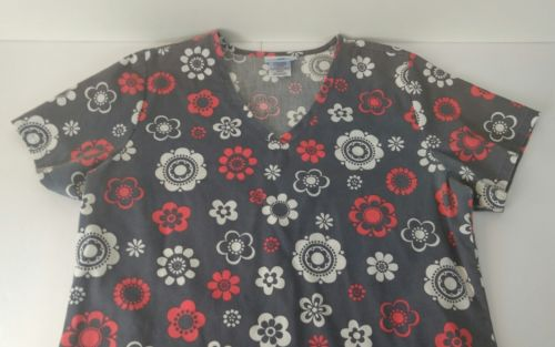 SB Scrubs Women's Size S Flower Pattern Gray White Red