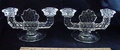 2 Vintage Clear Glass Double Heavy Candle Holders
