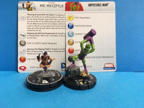 Heroclix DC Super Rare Mr. Mxyzptlk 060 and Super Rare Impossible Man 052