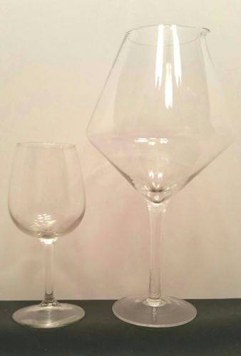 GIANT 13 inch WINE GLASS WINE DECANTER & REGULAR SIZE WHITE WINE GLASS