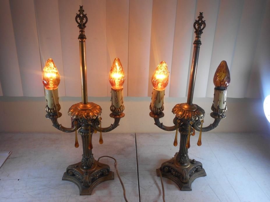 Antique Bronze Brass Two Arm Candelabra Electric Table Lamps Cloth Cord & Prisms