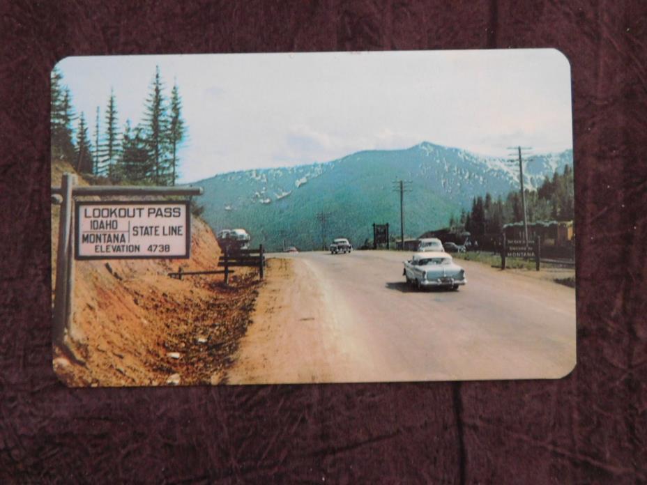 Vintage Postcard: Lookout Pass on Hwy 10 Montana Idaho Border