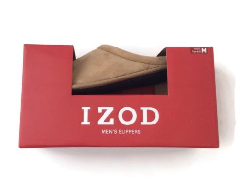 Izod Mens 8 9 Slippers Beige Faux Suede