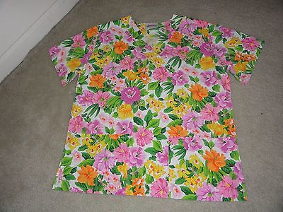 Women's Size S JASCO UNIFORM Top Medical Scrubs Pink Yellow Floral Multi-Color