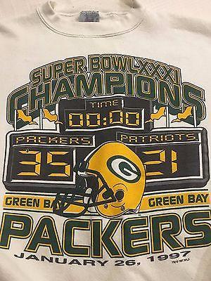 Vtg 90s Logo 7 Green Bay Packers Crewneck Sweatshirt sz L Large Super Bowl NFL