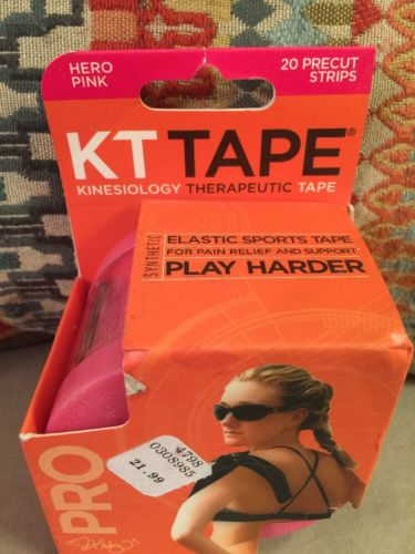 KT Tape Pro  PINK Elastic Kinesiology Therapeutic Tape 20 Precut Strips