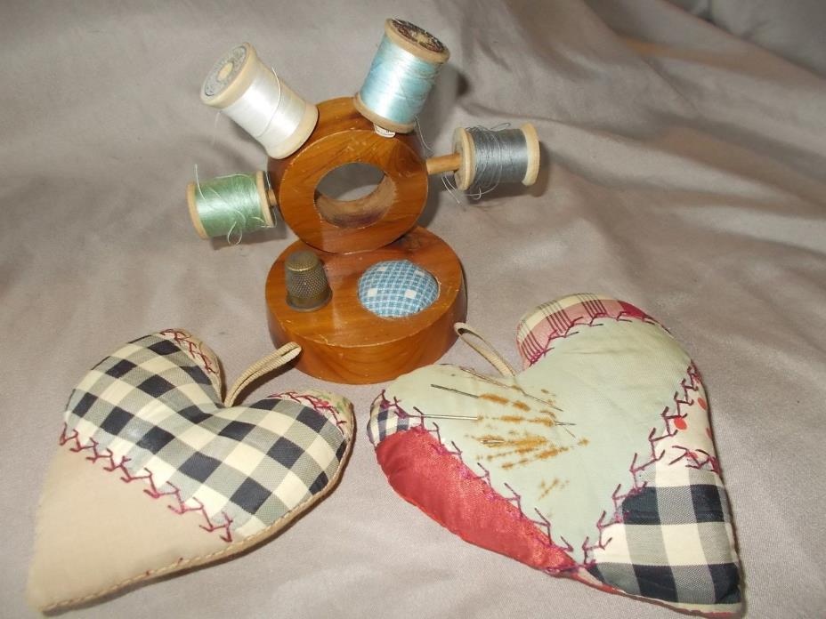 VINTAGE NAUTICAL PINCUSHION , 2 VINTAGE CRAZY QUILT SILK HEART PINCUSHIONS.
