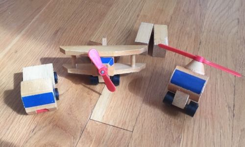 Set Of 3 1972 1971 Mattel Wooden Toy Vehicles Truck Helicopter Plane