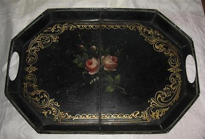 antique 19C Hand Painted TOLE SERVING TRAY Roses on Black FOLK ART 17x12 Sm GR8!