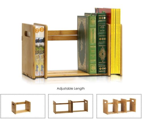 Wood Book Rack Bookcase Magazine Storage Display Desk Stand Tabletop Furniture