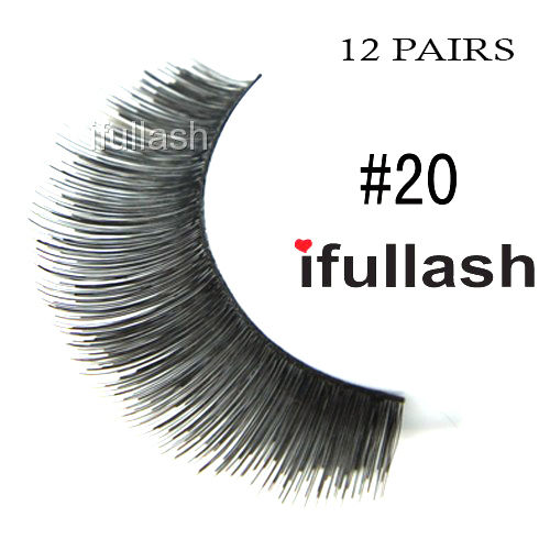 #20 12 Pairs Ifullash 100% BLK Human Hair Eyelashes *US SELLER* Fast Ship!