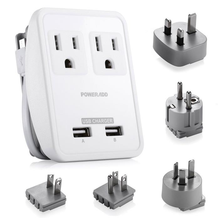 Poweradd [UL Listed] 2-Outlet International Travel Charger Power AC Adapter