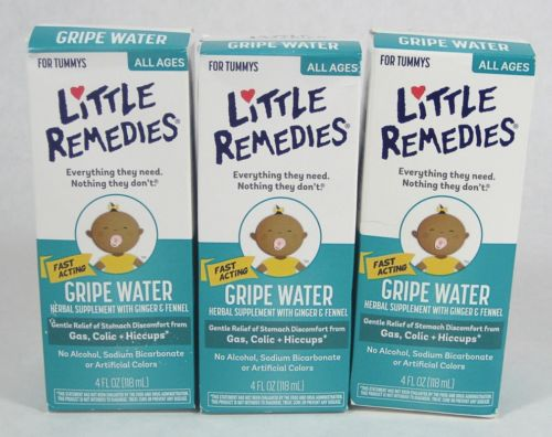3 Little Remedies GRIPE WATER for Gas Colic Hiccups 4oz ginger fennel 01/2018
