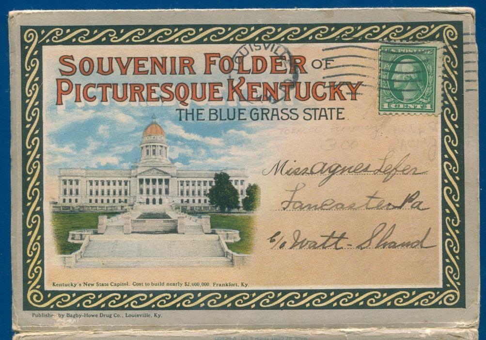 Picturesque Kentucky ky the Blue Grass state postcard folder 1910s foldout