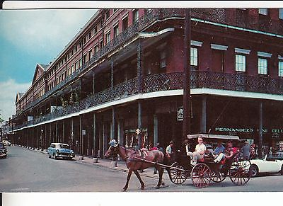 NEW ORLEANS LOUISIANA CARRIAGE RIDE PASSING THE PONTALBA APARTMENTS OLD CARS  LA
