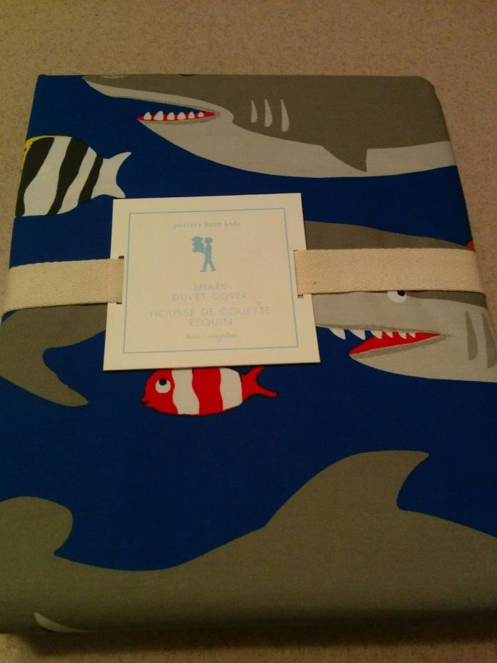 NEW Pottery Barn Kids Navy Shark Twin Duvet Cover Sold out READ