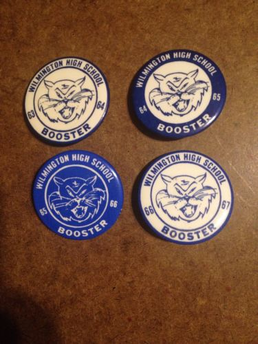 4 Booster Pin/Buttons. Wilmington Wildcats in Wilmington, MA. Years 1963-1967