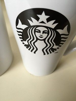 Lot Of 2 Starbucks Mugs 2014 Black Logo And Green Logo