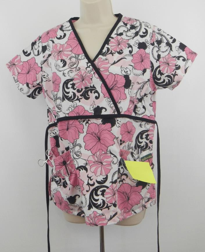 U A Scrubs with pink hibiscus pattern  No Size Tag See Measurements