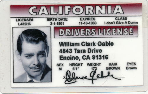 Clark Gable - California - Drivers License - Novelty