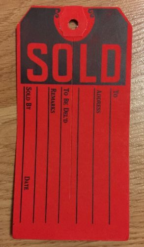 New 50 SOLD Red Sales Tags 4.75