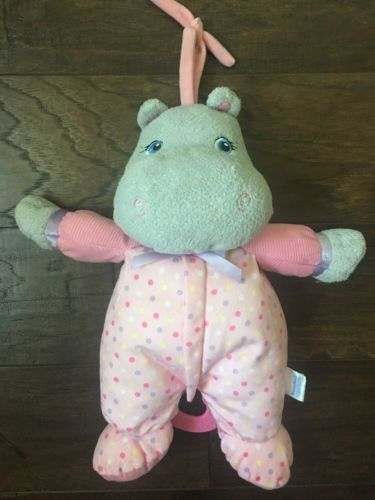 GARANIMALS Pink Polka Dot Pajamas Stuffed Baby Plush HIPPO Musical Crib Pull Toy