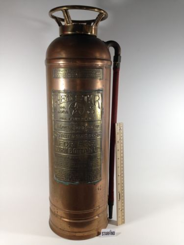 Vintage Red Star Copper Brass Metal Fire Extinguisher W/ Drill Holes For Lamp