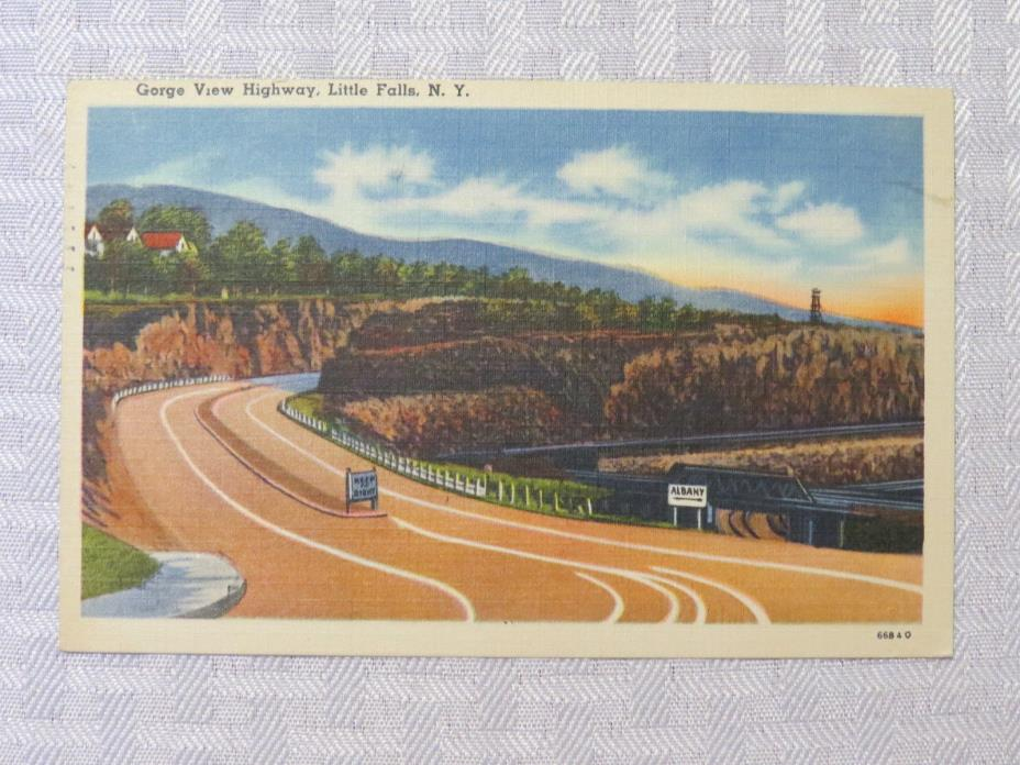 ST74 - Little Falls New York NY postcard - Gorge View Highway 1943