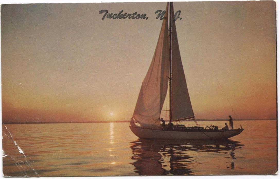 Sailboat at Sunset Tuckerton New Jersey Postcard M14