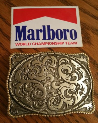 Vintage Marlboro Promotional Storming Silver Western Belt Buckle with Sticker
