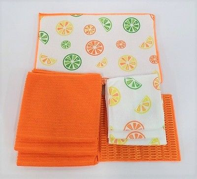 FDC Citrus Microfiber Dishtowel, Scrubbing Mar And Dish Drying Mat