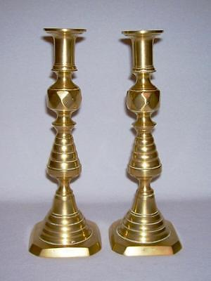 Pair Victorian Brass Diamond/Beehive CANDLESTICKS w/Ejector Pusher Rods~ England