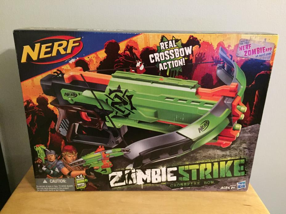 New Sealed in Box Nerf Zombie Strike Crossfire Bow Blaster Crossbow Darts