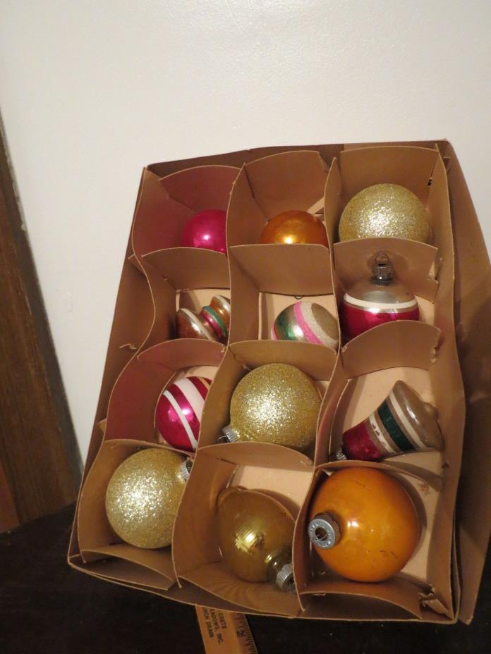 1 DOZEN BOX OF ASSORTED SHINY BRITE BLOWN GLASS ORNAMENTS