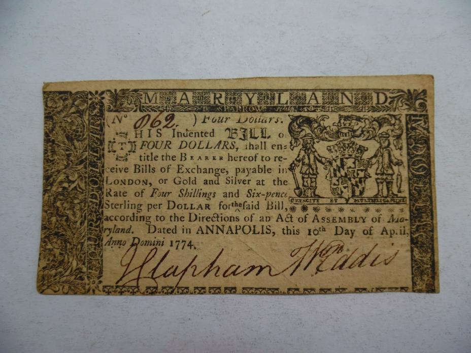 1774 Maryland $4 Colonial Currency Note - Very Fine-Extra Fine, VF-XF